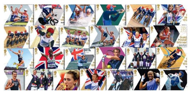Royal Mail gold medal winners stamps