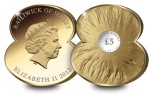 m927 gold poppy coin - World exclusive Poppy-shaped coins to raise money for The Royal British Legion