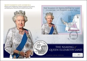 The finished cover featuring the new Queen Elizabeth Land Stamps