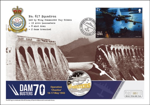 Just 495 Dambusters Anniversary Silver Coin Covers will be flown on board one of two surviving Lancaster bombers as part of tonight's 70th anniversary memorial