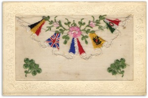 A card featuring the Allied flags of Belgium, Great Britain and France