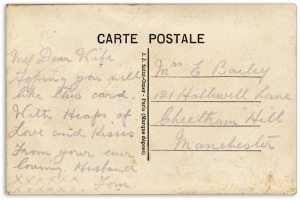 silk postcard reverse - Messages from the trenches of the First World War