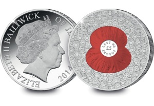 The new '100 Poppies' £5 Proof Coin issued on behalf of the Bailiwick of Jersey