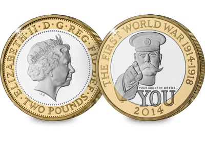 The 2014 UK First World War Centenary Lord Kitchener £2