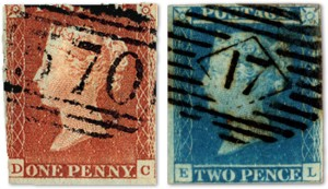 The 1841 Penny Red and Twopenny Blue