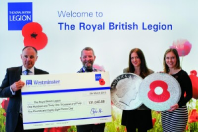 "rbl cheque presentation v3 e1429186207317 - The ""100 Poppies Coin"" raises over £131,000 for The Royal British Legion"