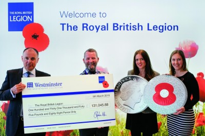 The Westminster Collection Present a Cheque for £113,000 to the Royal British Legion
