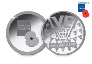 The VE Day Silver Medal issued in support of The Royal British Legion