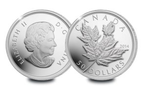 The highest relief 5oz coin ever struck by the Royal Canadian Mint