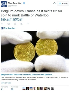 tweet - Battle of Waterloo commemorative issued… by France!