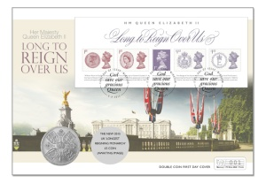 p353 lrmdbicc the united kindom longest reigning monarch coin cover - First Look: The UK's New Longest Reigning Monarch Stamps