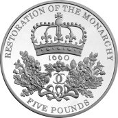The last ever £5 for £5 crown coin - 2010 The Restoration of the Monarchy