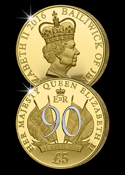 The Queen Elizabeth II 90th Birthday Silver Proof £5 coin issued by Jersey