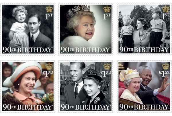 Six new GB Stamps issued to mark the Queen's 90th Birthday