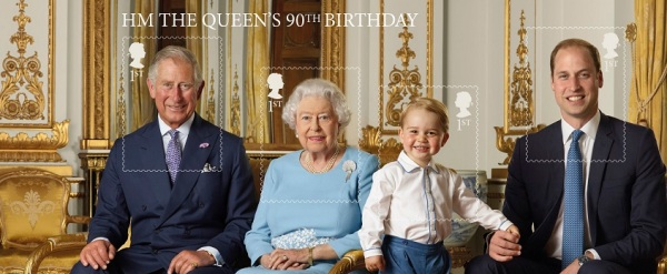 Issued for the Queen's 90th Birthday - the new UK Royal Mail stamps feature Prince George for the very first time