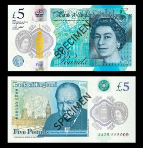 The New Sir Winston Churchill Polymer £5 Note © Bank of England [2015]