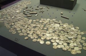 Coins and bullion from the Vale of York hoard. Discovered January 2007.