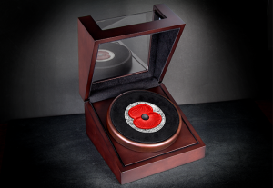 The 2016 Masterpiece Silver 5oz Poppy Coin in Presentation Case