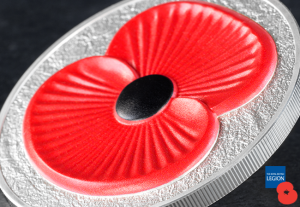 The 2016 Masterpiece Silver 5oz Poppy Coin Close Up