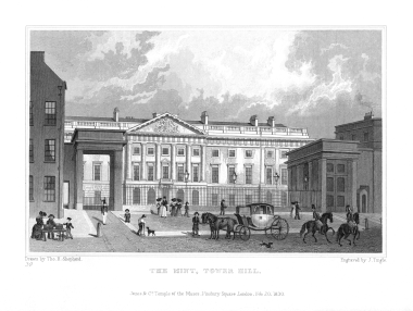 The Royal Mint at Tower Hill Etching