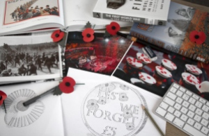 poppy coin sketch on desk - The story behind the official 2016 'Lest We Forget' Poppy Coin