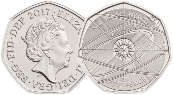 sir isaac newton 2017 uk 50p brilliant uncirculated coin - Revealed: The Royal Mint UK commemorative coin designs for 2017