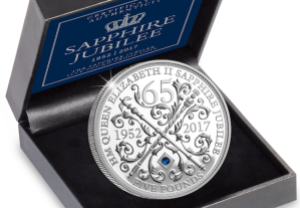 sapphire jubilee 5 pound cuni proof coin box close up - The history of Her Majesty's Jubilee crown coins...