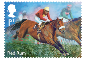 horse racing stamp red rum