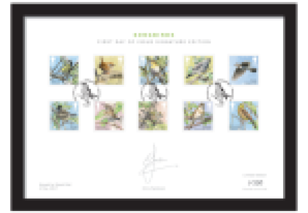 songbirds a4 framed - As Royal Mail's new Songbird stamps hit the right note with collectors, BBC's Chris Packham signs for Westminster...