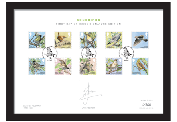 The Royal Mail Songbirds Stamps Framed Collector Card
