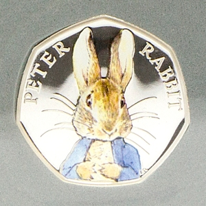 st 2016 peter rabbit silver proof 50p coin close up - Britain's most popular EVER 50p - and how you can WIN one...