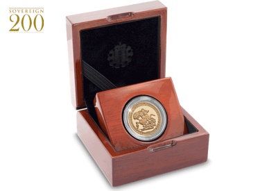 2017 gold sovereign proof piedfort in display case - 200 years of the Sovereign. The UK's First Ever Gold Proof Piedfort Sovereign.