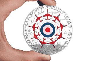 red arrows 2017 display season 5oz silver commemorative in hand1 - All 9 Red Arrow pilots put their names to the ultimate Silver tribute...and we've just presented it to them!