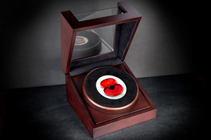 rbl 2017 silver 5oz proof masterpiece poppy coin in box lifestyle image - Just released: The Masterpiece Poppy Coin that's almost TWICE AS LIMITED as last year's issue...