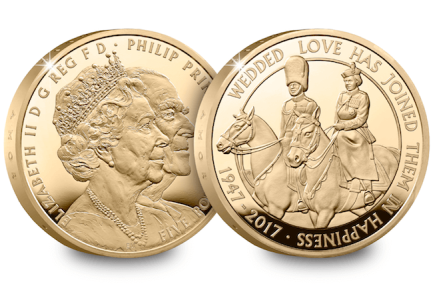 uk platinum wedding gold proof - New United Kingdom £5 coin released to celebrate the Queen's 70th Wedding Anniversary